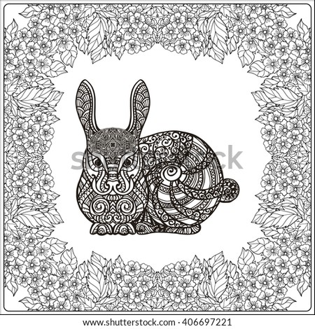 Rabbit in floral frame. Coloring book for adult and older children. Coloring page. Outline drawing. Vector illustration.
