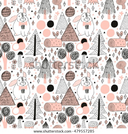Rabbit in forest seamless pattern. Vector illustration with tree, mushroom, flower, stump. Wrapping, surface decoration.