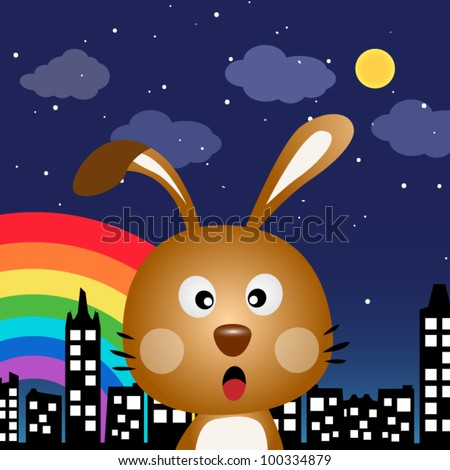 Rabbit in the city at night - stock vector