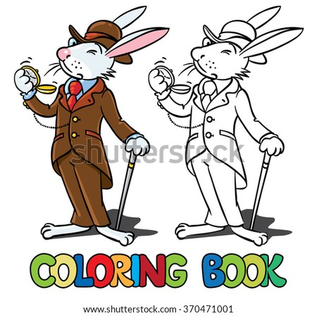 Rabbit in the costume of a gentleman Coloring book