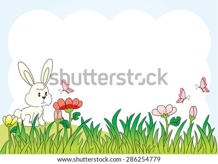 rabbit in the grassland with background