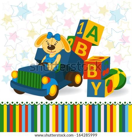 rabbit on truck unload baby blocks  - vector illustration  - stock vector
