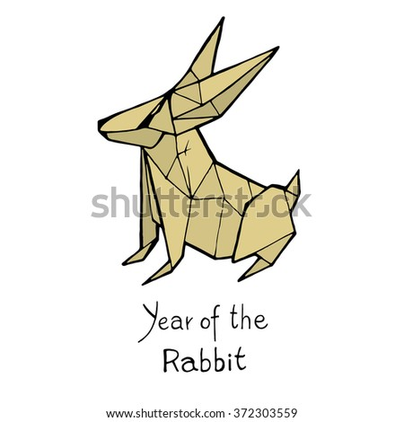 Rabbit origami, Chinese Zodiac. Hand drawn vector illustration