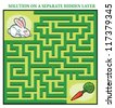 Rabbit's Maze Game (help the hungry rabbit to find his carrot - Maze puzzle with solution) - stock vector