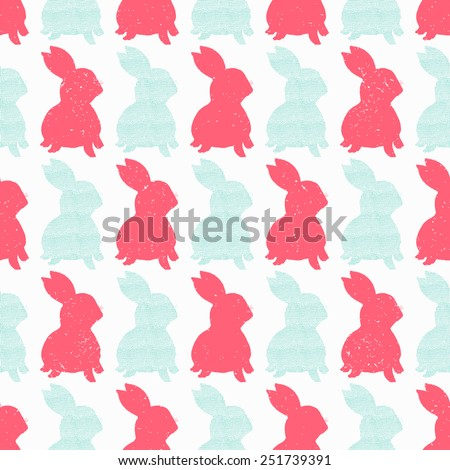 Rabbit seamless background. Vector illustration. - stock vector