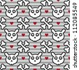 Rabbit skull and cross bones seamless pattern on light gray strips background with hearts - stock vector