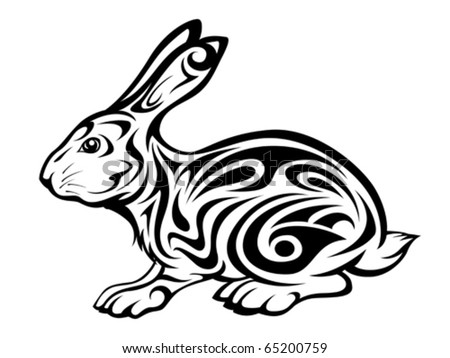 tribal rabbit tattoo stock vector 66932947 shutterstock. Black Bedroom Furniture Sets. Home Design Ideas