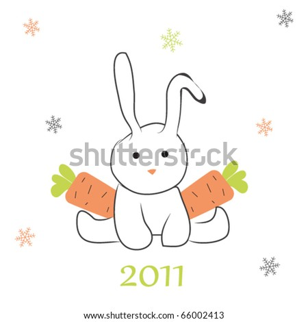 Rabbit  with carrots (symbol of the new year 2011 ) - stock vector