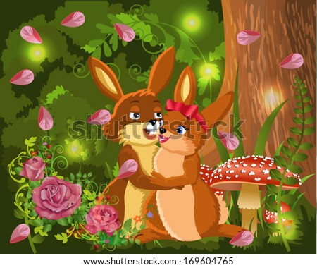 rabbits in love in a natural background - stock vector
