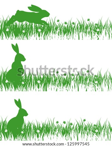 rabbits on a meadow - stock vector