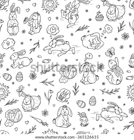 Rabbits Seamless pattern. Hand drawn doodle bunnies - vector illustration. Background for kids - stock vector