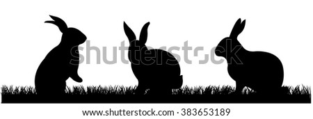 Rabbits With Grass, Vector Illustration - stock vector