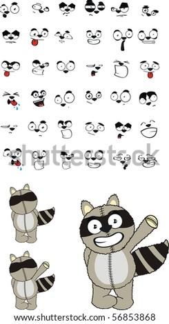 raccoon cartoon set in vector format very easy to edit - stock vector