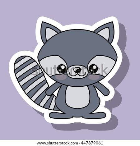 raccoon character kawaii style isolated icon design - stock vector