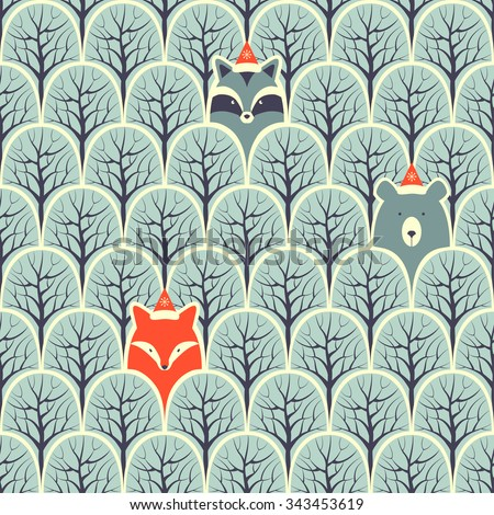 Raccoon, fox and bear in a forest seamless pattern. Vector design background. - stock vector