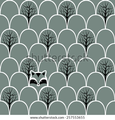 Raccoon in a forest seamless pattern. Vector design background. - stock vector