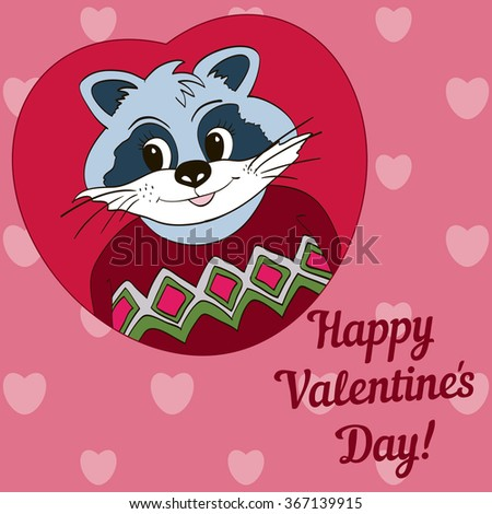 Raccoon in red jersey. Picture for clothes, cards. Happy Valentine's Day!