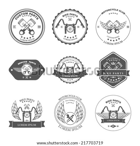 Race Bikers Garage Repair Service Emblems and Motorcycling Clubs Tournament Labels Collection isolated. Vector - stock vector