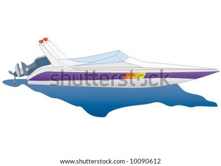 Race boat in white color - stock vector