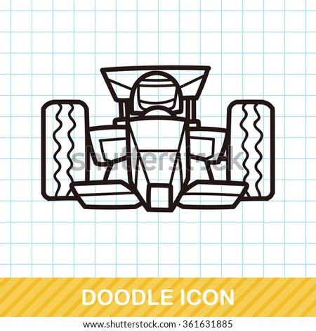 race car doodle - stock vector