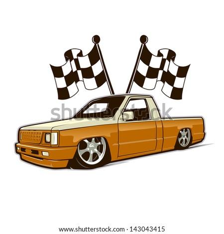 Race Car Truck And Flags. Fully Editable Vector File. - stock vector