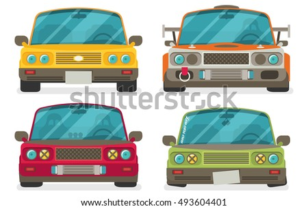 Race car tuning set  front view. Colorful vector illustration of vehicle. Flat design.