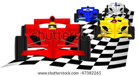 Race cars over checkered flag - stock vector