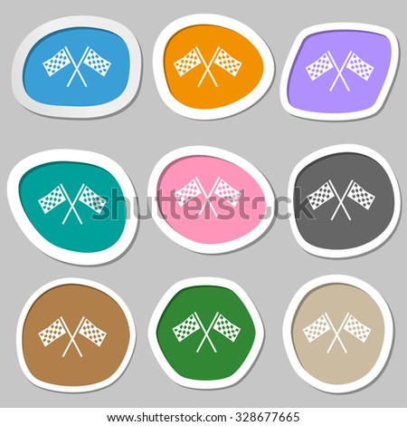 Race Flag Finish icon sign. Multicolored paper stickers. Vector illustration - stock vector