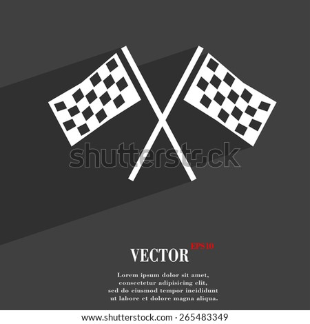 Race Flag Finish  icon symbol Flat modern web design with long shadow and space for your text. Vector illustration - stock vector