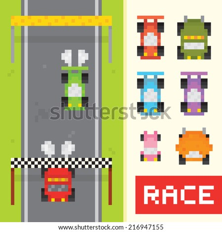 Race game isolated vector objects in pixel art style (part 1) - stock vector