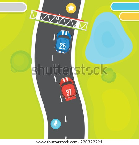 Race game vector asset objects - stock vector