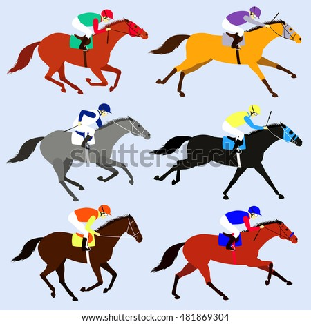 Race Horses Jockeys Set Flat Design Stock Vector 481869304