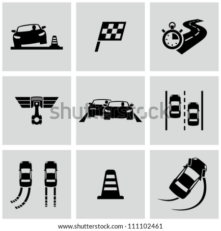 Race icons set - stock vector  Race Car Icon