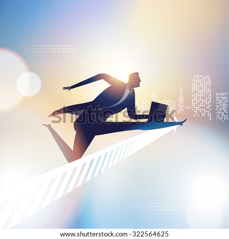 Race. Illustration of a businessman jumping over arrow sign - stock vector