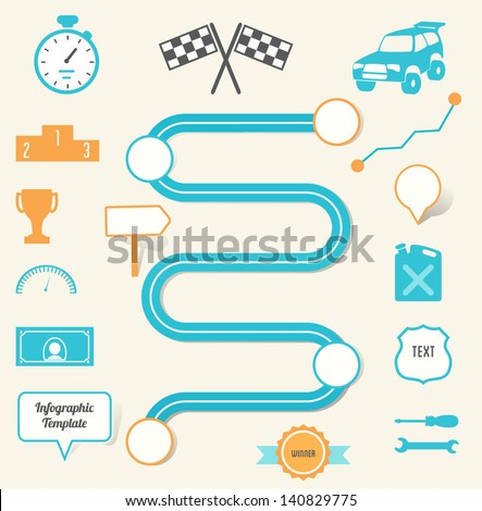 Race Map, Business Planning, Strategy Infographics EPS 10 - stock vector