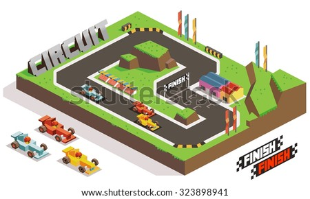 Race Track Car. Isometric vector illustration - stock vector