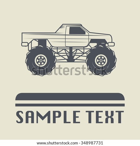 Race truck icon or sign, vector illustration - stock vector