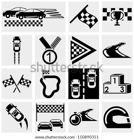 Race vector icons set on gray - stock vector