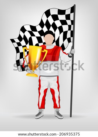 racer in red overall holding checked flag and trophy vector illustration - stock vector