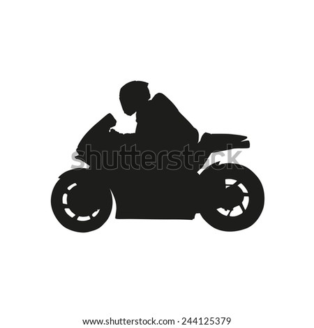 Racer on a motorcycle. Vector silhouette - stock vector
