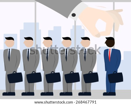 Racial discrimination at work - stock vector