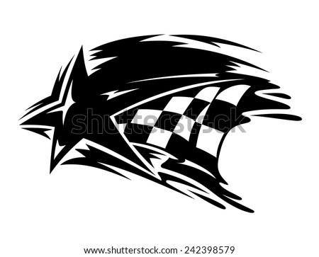 Racing and motorsport icon with a star over a black and white checkered flag with motion trails for speed, vector illustration on white - stock vector