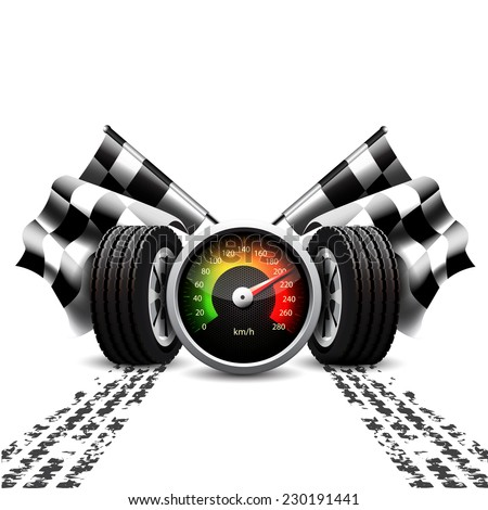 Racing background, speedometer, checkered flags and wheels with tyre treads on white  - stock vector