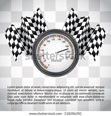 Racing background with checkered flags and speedometer