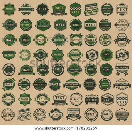 Racing badges - vintage style, big green set, vector illustration - stock vector