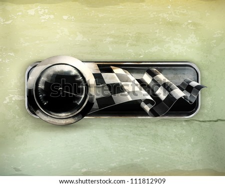 Racing banner, old-style vector - stock vector
