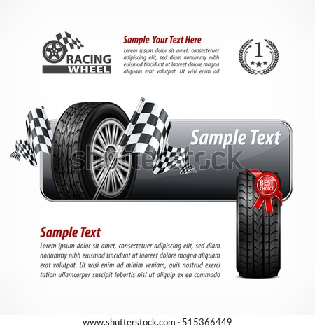 Racing banner with rubber wheel. Crossed checkered flags and metallic frame. Text on white. Vector illustration