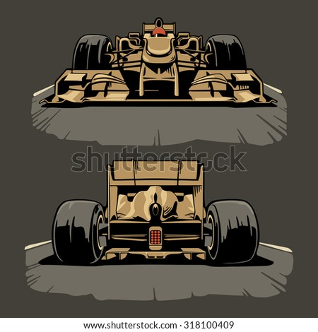Racing car front and back view. Vector set illustration. - stock vector