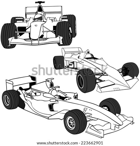 Racing Cars - Black Outline Illustrations, Vector - stock vector