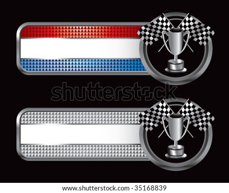 racing checkered flag and trophy on diamond textured banners - stock vector